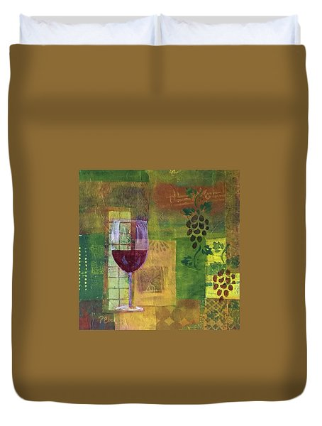 Mixed Media Painting Wine Duvet Cover