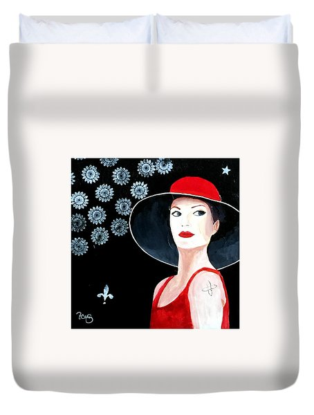 Mixed Media Painting Woman Red Hat Duvet Cover