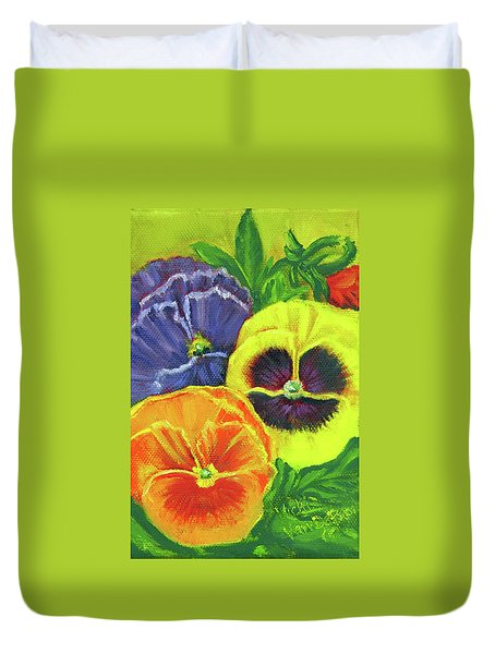 Mixed Pansy Seed Packet Duvet Cover