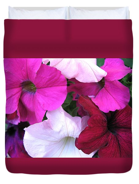 Mixed Petunias Duvet Cover by Carol Sweetwood