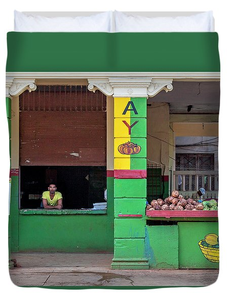 Duvet Cover featuring the photograph Mjay Fruit Stand Havana Cuba by Charles Harden