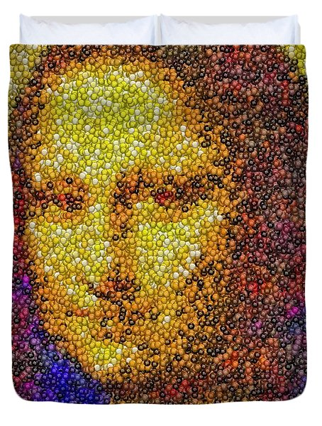 Duvet Cover featuring the mixed media Mm Candies Mona Lisa by Paul Van Scott