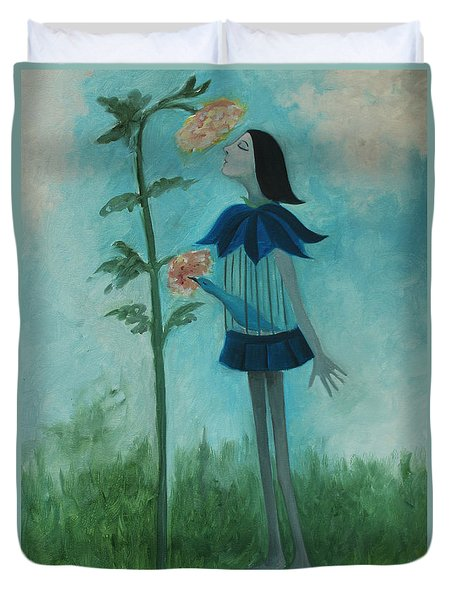 Duvet Cover featuring the painting Mmmmmm by Tone Aanderaa