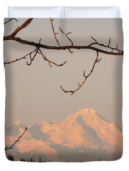Mnt. Iliamna Through The Trees Duvet Cover