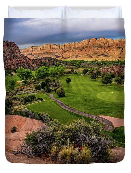 Moab Desert Canyon Golf Course At Sunrise Duvet Cover by Gary Whitton