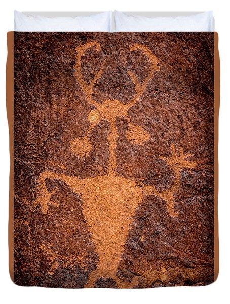 Moab Man Petroglyph Portrait - Utah Duvet Cover