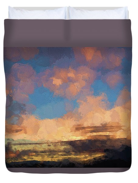 Duvet Cover featuring the photograph Moab Sunrise Abstract Painterly by David Gordon