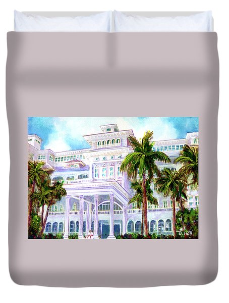Moana Surfrider Hotel On Waikiki Beach #206 Duvet Cover by Donald k Hall