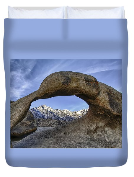 Mobius Arch And Lone Pine Mt. Duvet Cover