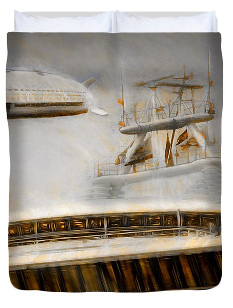 Duvet Cover featuring the painting Moby Air by Michael Cleere