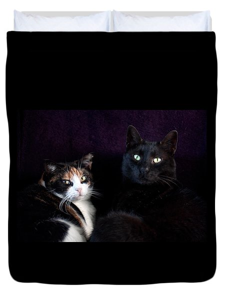 Duvet Cover featuring the photograph Mochi And Stinky by Laura Melis