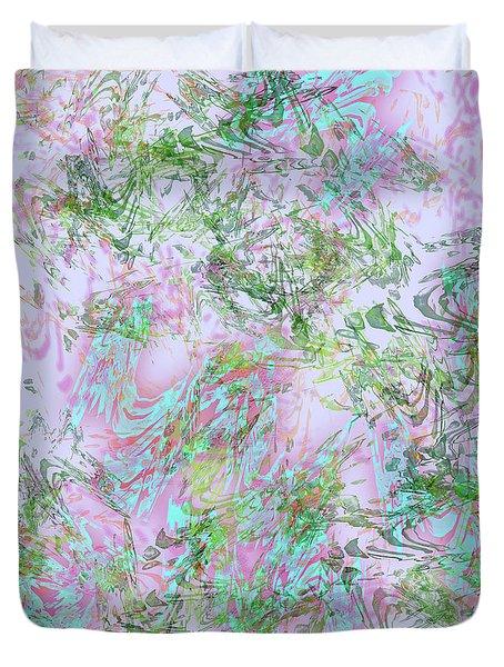 Mock Floral Purple Teal Duvet Cover