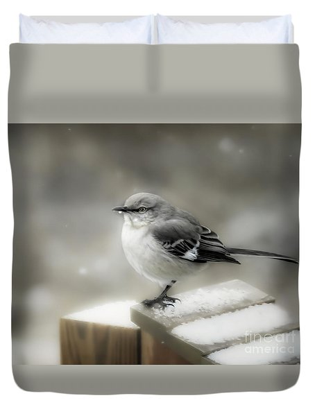 Duvet Cover featuring the photograph Mockingbird by Brenda Bostic