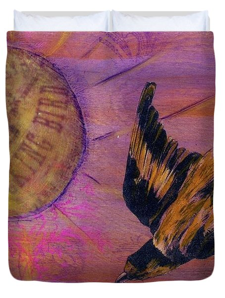 Duvet Cover featuring the mixed media Mockingbird by Desiree Paquette