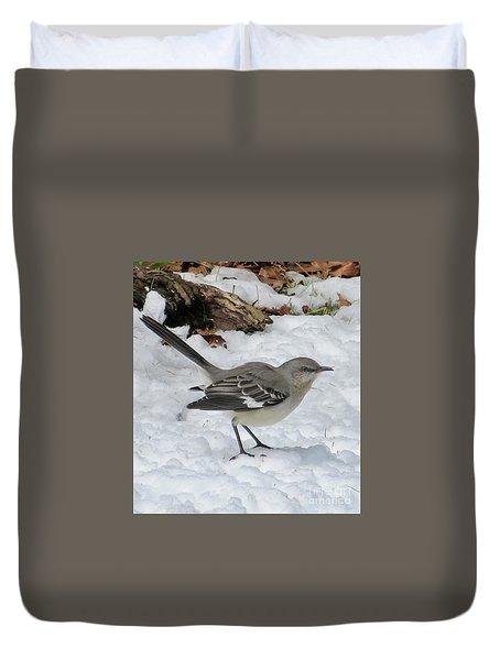 Mockingbird In The Snow Duvet Cover