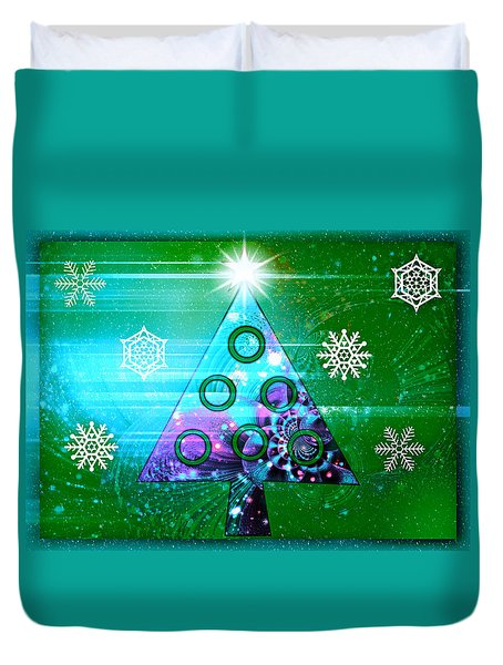 Duvet Cover featuring the photograph Mod Cards - Christmas Tree Magic II by Aurelio Zucco