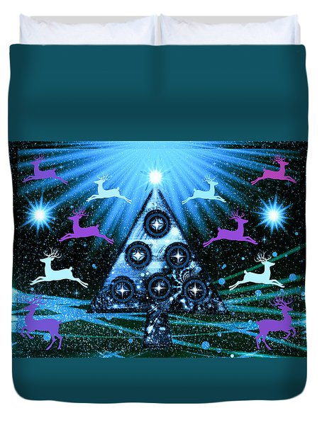 Duvet Cover featuring the photograph Mod Cards - Christmas Tree Magic Vii by Aurelio Zucco