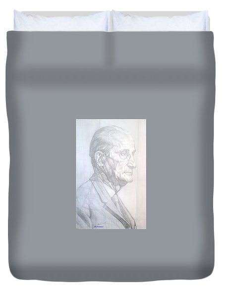 Duvet Cover featuring the drawing Model by Elly Potamianos