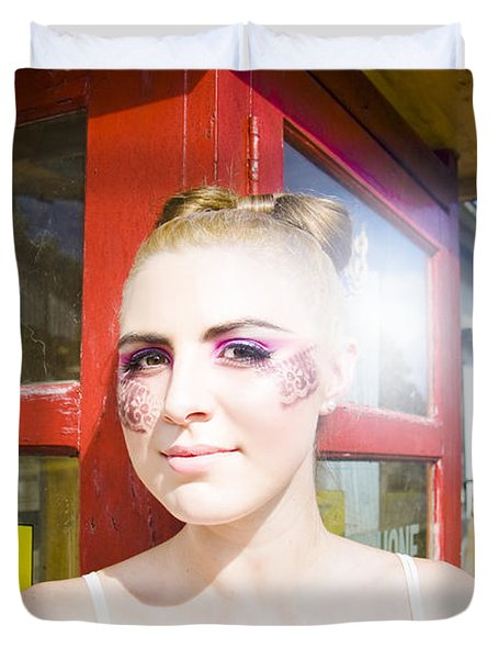 Model In Lace Makeup Duvet Cover