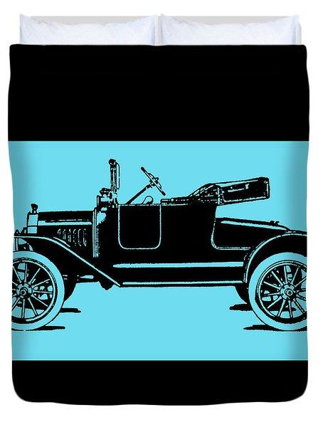 Model T Ford Roadster Pop Blue Duvet Cover