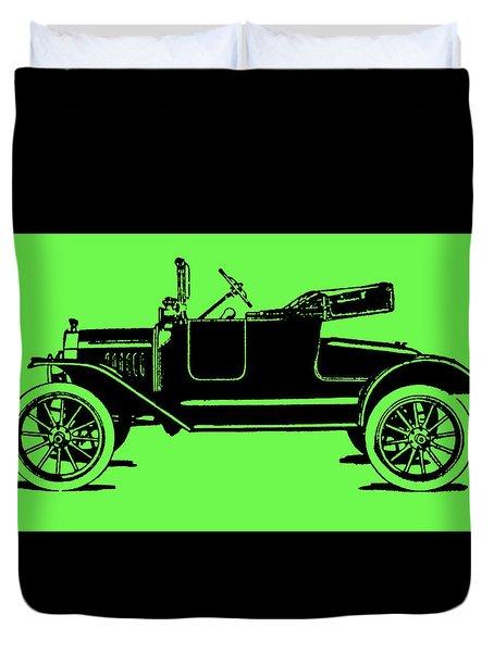 Model T Ford Roadster Pop Green Duvet Cover