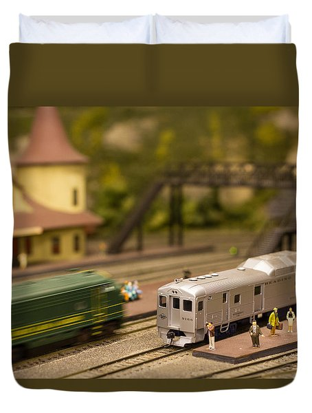 Duvet Cover featuring the photograph Model Trains by Patrice Zinck