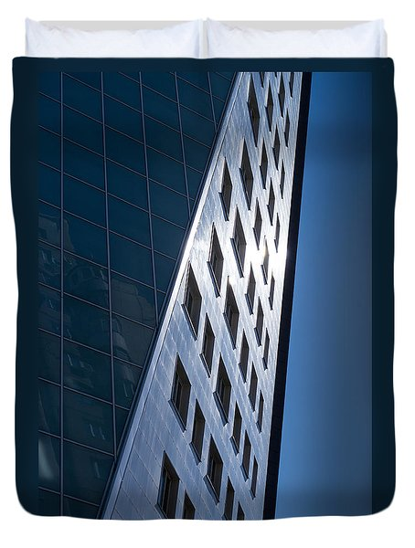 Duvet Cover featuring the photograph Blue Modern Apartment Building by John Williams
