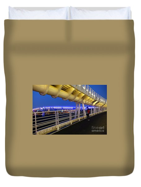 Duvet Cover featuring the photograph Modern Bicycle Overpass By Night by Yali Shi