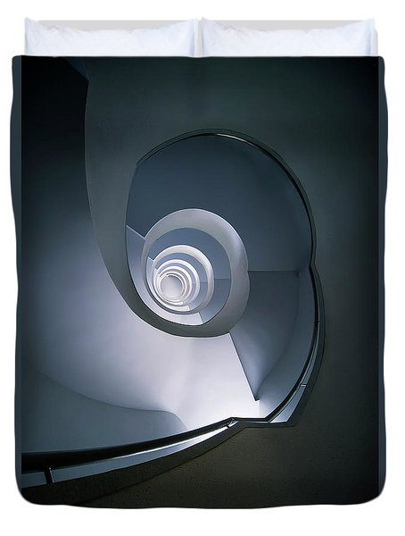 Duvet Cover featuring the photograph Modern Blue Spiral Staircase by Jaroslaw Blaminsky