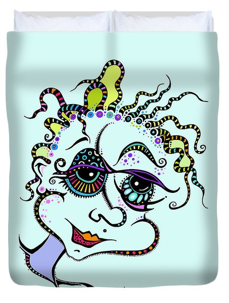 Duvet Cover featuring the drawing Modern Day Medusa by Tanielle Childers