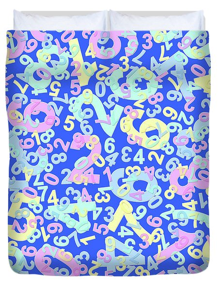 Modern Design With Random Colorful Numbers With Shadow Edges On A Blue Background  Duvet Cover