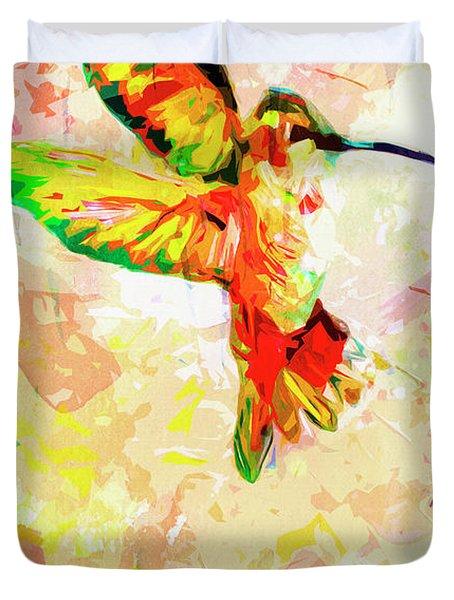 Modern Expressive Hummingbird  Duvet Cover