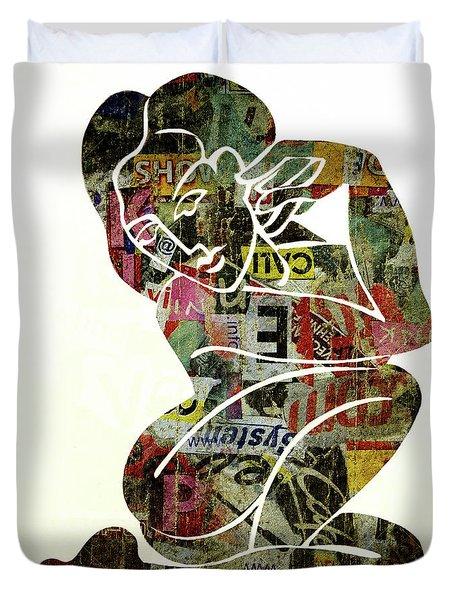 Modern Graffiti Girl Print Abstract Painting Art By Robert Erod Duvet Cover