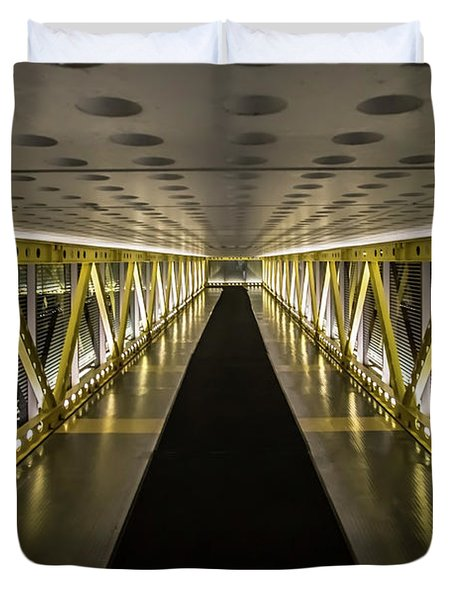 modern looking pedway in Chicago Duvet Cover