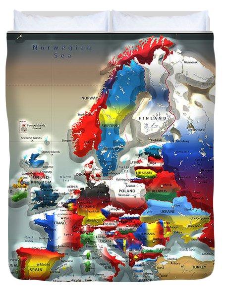 Modern Portrait Of Modern Europe - 3d Duvet Cover