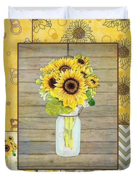 Modern Rustic Country Sunflowers In Mason Jar Duvet Cover