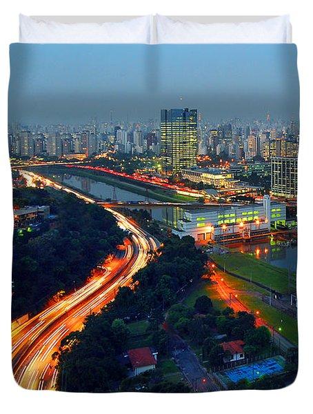 Modern Sao Paulo Skyline - Cidade Jardim And Marginal Pinheiros Duvet Cover