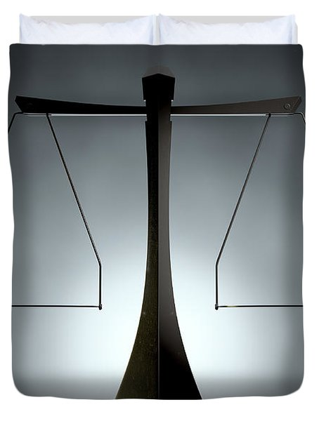 Modern Scales Of Justice Duvet Cover