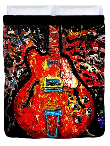 Modern Vintage Guitar Duvet Cover