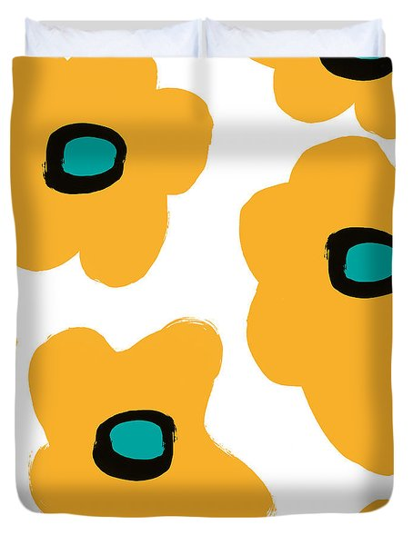 Duvet Cover featuring the painting Modern Yellow Flowers- Art By Linda Woods by Linda Woods