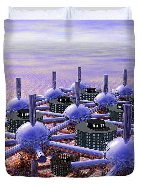 Modular City Duvet Cover by Nicholas Burningham
