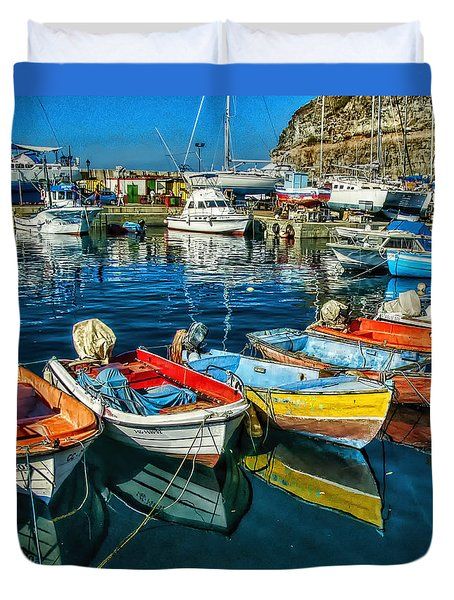 Duvet Cover featuring the photograph Mogan Fishing Boats by Brian Tarr