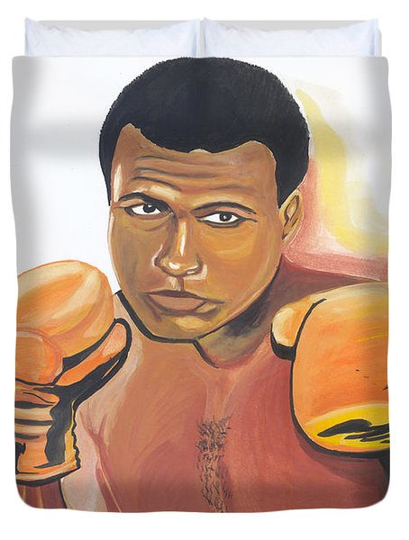 Duvet Cover featuring the painting Mohammed Ali by Emmanuel Baliyanga