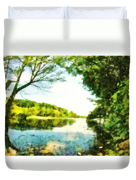 Duvet Cover featuring the photograph Mohegan Lake By The Bridge by Derek Gedney