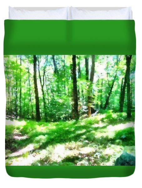 Duvet Cover featuring the photograph Mohegan Lake Forever Green by Derek Gedney