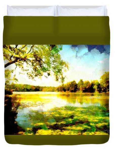 Duvet Cover featuring the painting Mohegan Lake Hidden Oasis by Derek Gedney