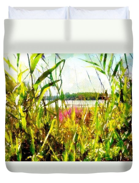 Duvet Cover featuring the painting Mohegan Lake In The Brush by Derek Gedney