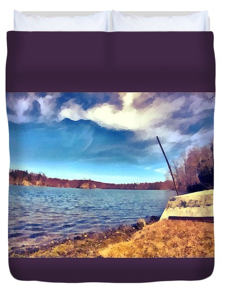 Duvet Cover featuring the painting Mohegan Lake Lonely Boat by Derek Gedney