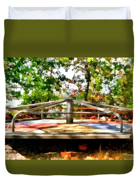 Duvet Cover featuring the painting Mohegan Lake Merry-go-round by Derek Gedney