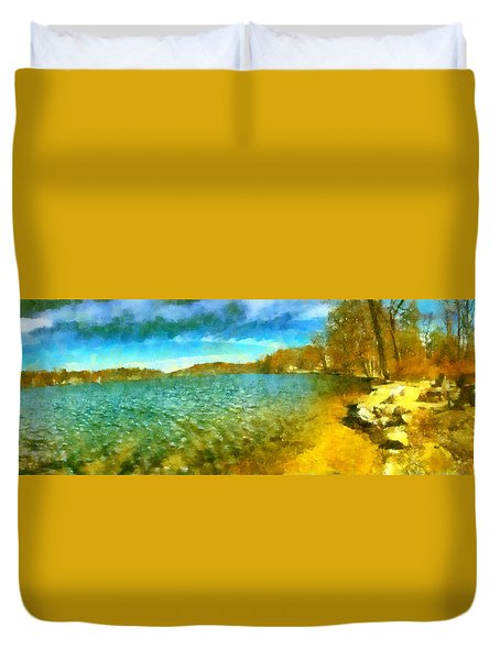 Duvet Cover featuring the painting Mohegan Lake Panoramic Beach by Derek Gedney